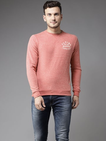 Flying Machine Men Coral Red Solid Sweatshirt Flying Machine Sweatshirts at myntra