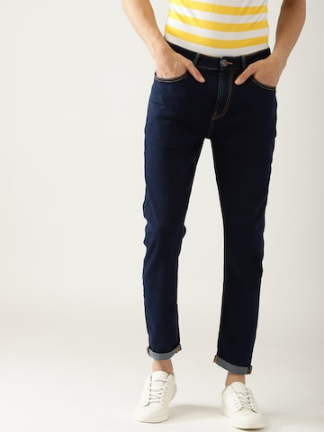 United Colors of Benetton Men Navy Carrot Fit Mid-Rise Clean Look Stretchable Jeans United Colors of Benetton Jeans at myntra
