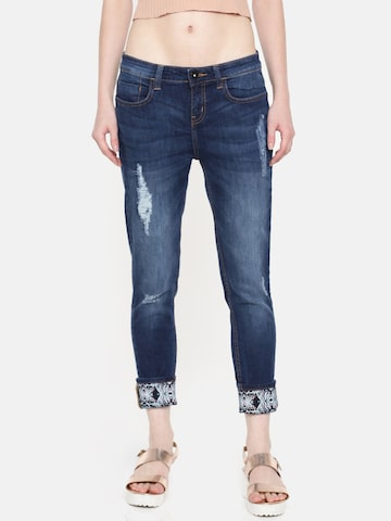 Jealous 21 Women Blue Skinny Fit Mid-Rise Mildly Distressed Stretchable Jeans Jealous 21 Jeans at myntra