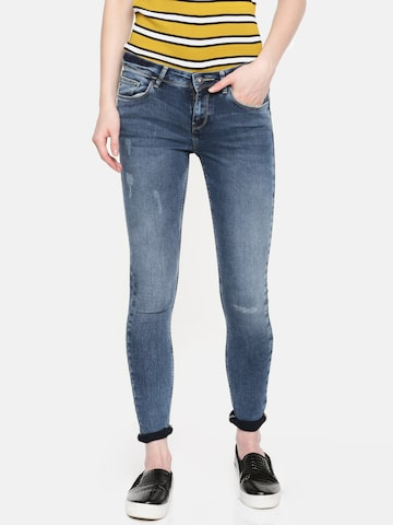 Jealous 21 Women Blue Super Skinny Fit Mid-Rise Low Distress Stretchable Jeans Jealous 21 Jeans at myntra