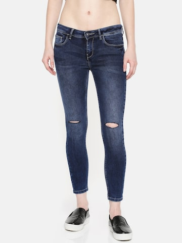 Jealous 21 Women Blue Super Skinny Fit Mid-Rise Slash Knee Stretchable Jeans Jealous 21 Jeans at myntra