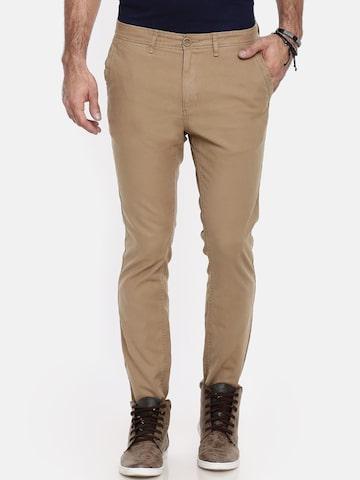 Breakbounce Men Brown Slim Fit Solid Chinos Breakbounce Trousers at myntra