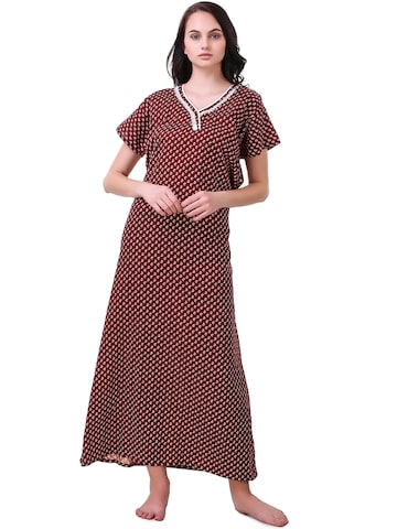 Masha Maroon & White Printed Maxi Nightdress NT-A254-1309 Masha Nightdress at myntra
