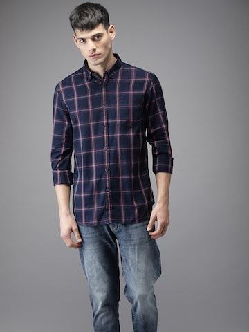 Flying Machine Men Navy Blue & Red Regular Fit Checked Casual Shirt Flying Machine Shirts at myntra