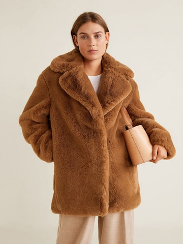 MANGO Women Brown Longline Faux Fur Overcoat MANGO Coats at myntra