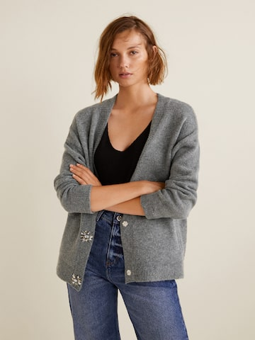 MANGO Women Grey Melange Solid Cardigan MANGO Sweaters at myntra
