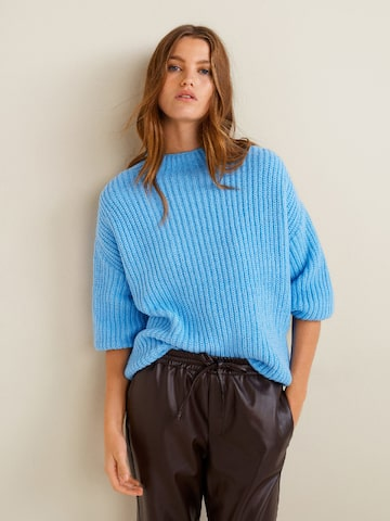 MANGO Women Blue Solid Pullover MANGO Sweaters at myntra