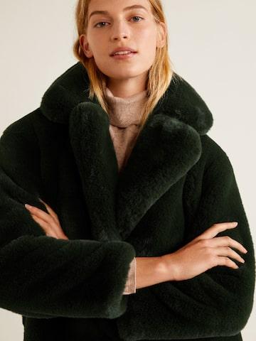 MANGO Olive Green Solid Faux Fur Overcoat MANGO Coats at myntra