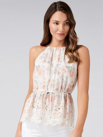 Forever New Women White Printed Cinched Waist Top Forever New Tops at myntra