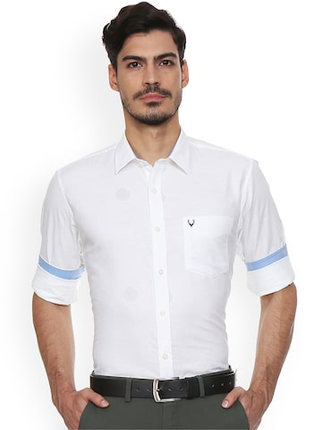 Allen Solly Men White Slim Fit Solid Casual Shirt Allen Solly Shirts at myntra