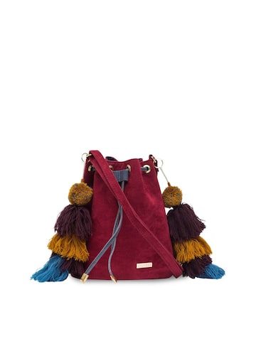 Chumbak Maroon Tasselled Sling Bag Chumbak Handbags at myntra
