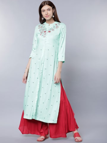 Vishudh Women Sea Green Embroidered A-Line Kurta Vishudh Kurtas at myntra