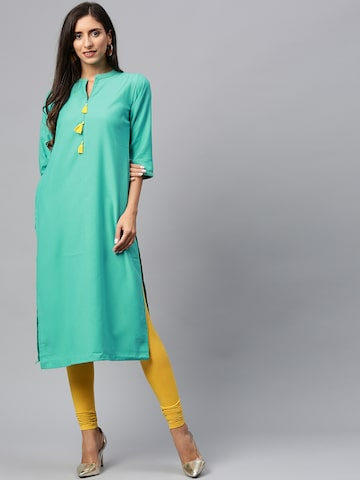 Shree Women Green Solid Straight Kurta Shree Kurtas at myntra