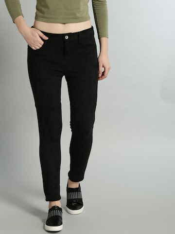 Roadster Women Black Solid Skinny Fit Suede Denim Trousers Roadster Trousers at myntra