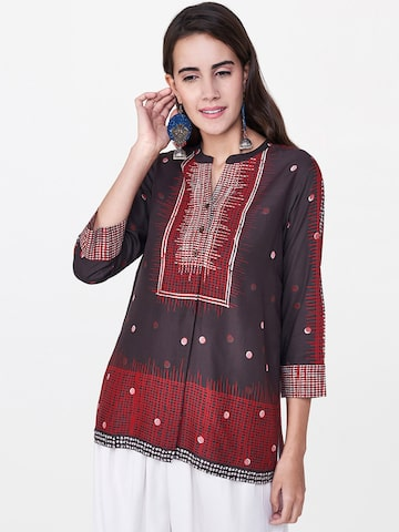 Global Desi Women Charcoal Grey & Maroon Printed Top Global Desi Tops at myntra