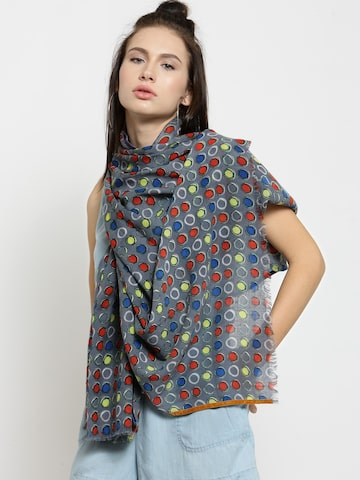 J Style Women Grey & Red Printed Stole J Style Stoles at myntra