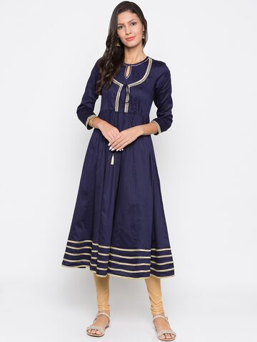 Globus Women Navy Blue & Gold-Toned Embellished A-Line Kurta Globus Kurtas at myntra