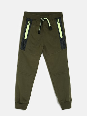 Little Kangaroos Boys Olive Green Solid Joggers Little Kangaroos Track Pants at myntra
