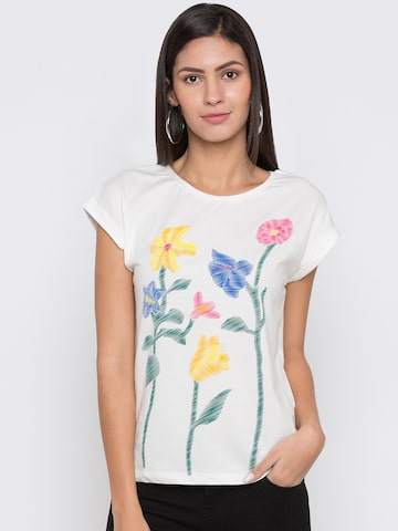 Globus Women White Printed Round Neck T-shirt Globus Tshirts at myntra