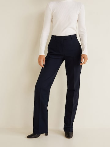 MANGO Women Navy Blue Regular Fit Solid Formal Trousers MANGO Trousers at myntra