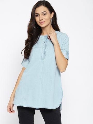 Xpose Blue Solid Chambray Tunic Xpose Tunics at myntra