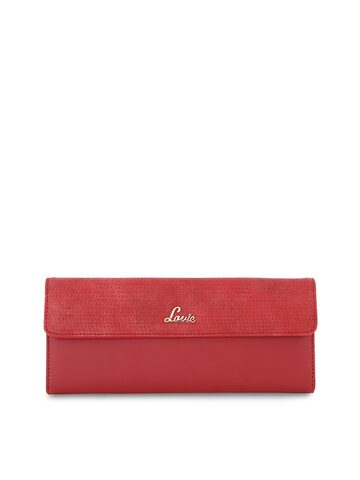 Lavie Women Red Solid Three Fold Leather Wallet Lavie Wallets at myntra