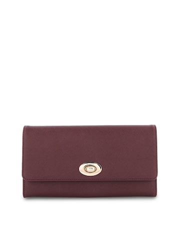 Lavie Women Brown Solid Three Fold Leather Wallet Lavie Wallets at myntra