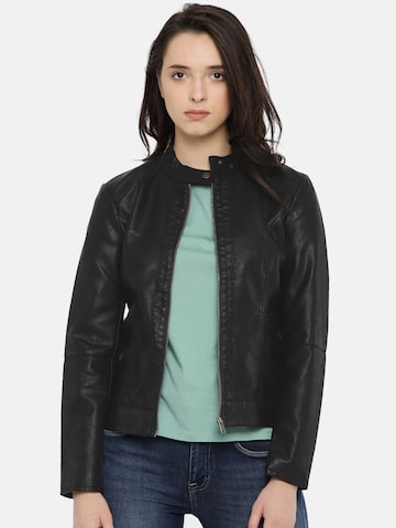 ONLY Women Black Solid Biker Jacket ONLY Jackets at myntra
