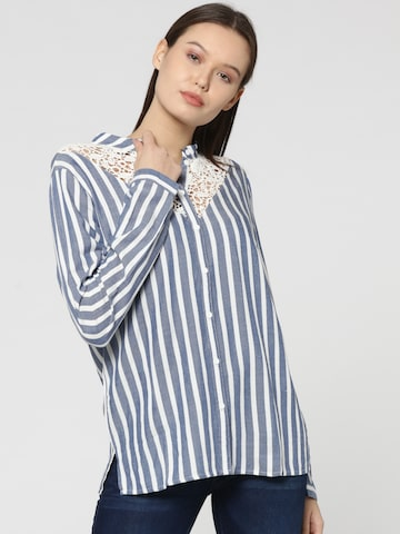 ONLY Women Blue & White Striped Shirt Style Top ONLY Tops at myntra