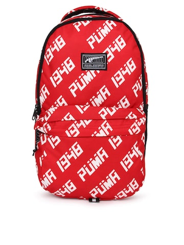 Puma Unisex Red Brand Logo Backpack Puma Backpacks from myntra in Luggage    Travelling Bags 77d2822a21aa0