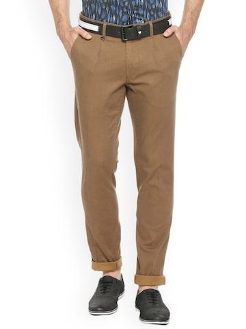Van Heusen Sport Men Khaki Slim Fit Self Design Chinos Van Heusen Sport Trousers at myntra