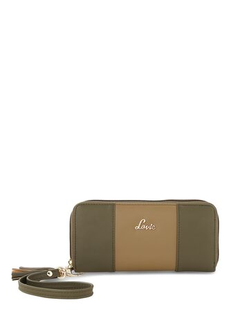 Lavie Women Olive Green & Brown Colourblocked Zip Around Wallet Lavie Wallets at myntra