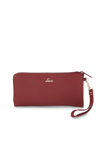 Lavie Women Maroon Solid Zip Around Wallet Lavie Wallets at myntra