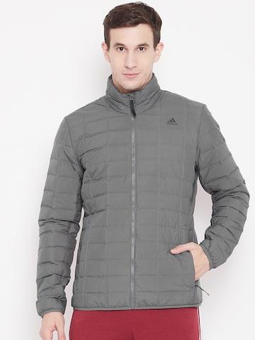 Adidas Men Grey Varilite Grid Quilted Jacket Adidas Jackets at myntra