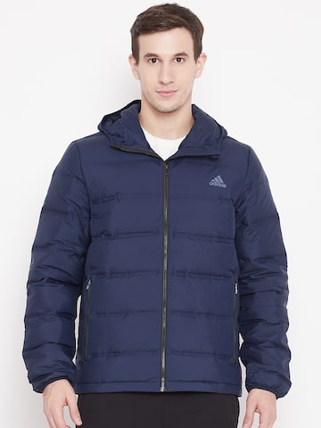 Adidas Men Navy Blue Helionic Hooded Down Jacket Adidas Jackets at myntra