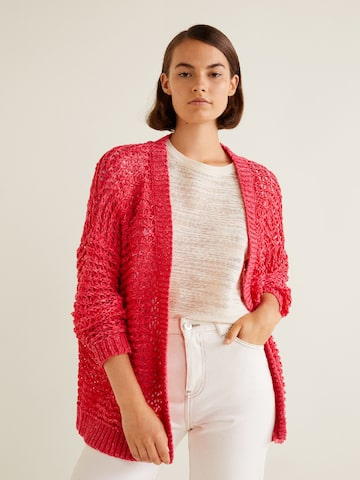MANGO Women Coral Red Open Knit Front-Open Cardigan MANGO Sweaters at myntra