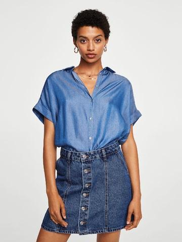 MANGO Women Blue Regular Fit Chambray Casual Shirt MANGO Shirts at myntra