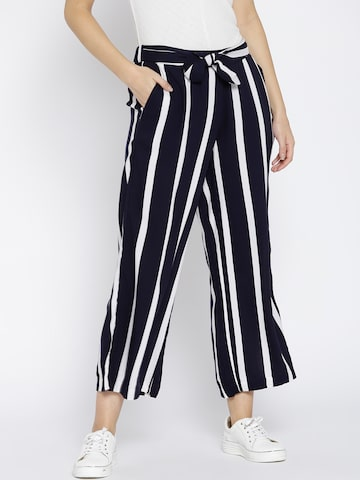 MANGO Women Navy & White Striped Cropped Parallel Trousers MANGO Trousers at myntra