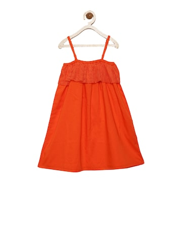 ShopperTree Girls Red Solid A-Line Dress ShopperTree Dresses at myntra