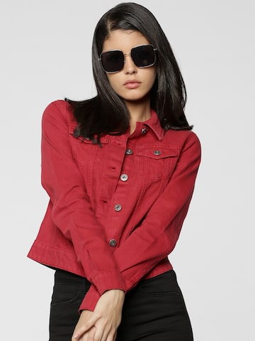 ONLY Women Red Solid Denim Jacket ONLY Jackets at myntra