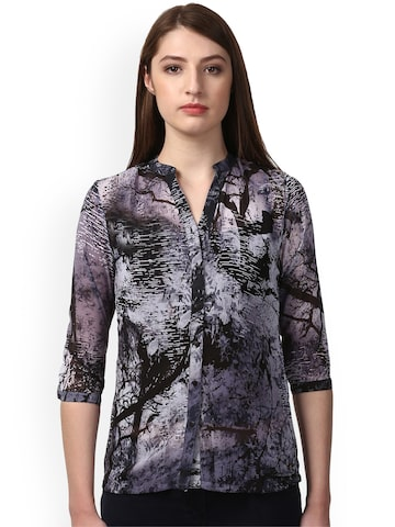 Park Avenue Women Grey & Black Printed Casual Shirt Park Avenue Shirts at myntra