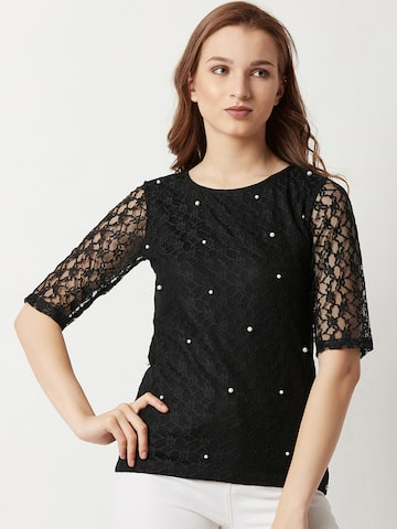 Miss Chase Women Black Self Design Top Miss Chase Tops at myntra