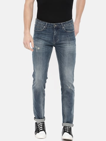 Pepe Jeans Men Blue Skinny Fit Low-Rise Mildly Distressed Stretchable Jeans Pepe Jeans Jeans at myntra