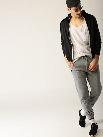 United Colors of Benetton Men Grey Melange Solid Joggers United Colors of Benetton Track Pants at myntra