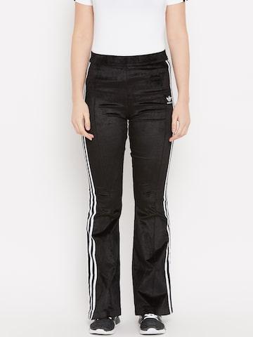Adidas Originals Women Black Flared Solid Track Pants Adidas Originals Track Pants at myntra