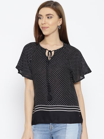 U.S. Polo Assn. Women Black & White Printed Top U.S. Polo Assn. Women Tops at myntra