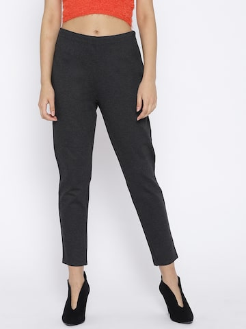 U.S. Polo Assn. Women Charcoal Grey Solid Treggings U.S. Polo Assn. Women Jeggings at myntra