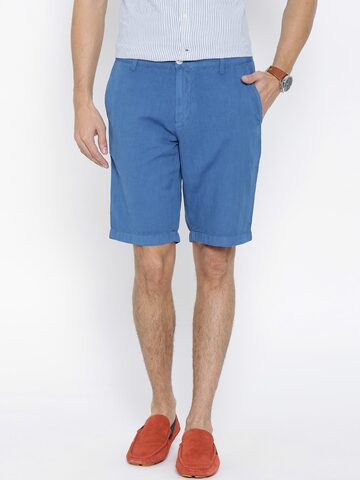 U.S. Polo Assn. Blue Linen Shorts at myntra