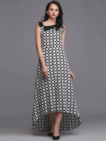 Eavan Women White & Black Printed Maxi Dress Eavan Dresses at myntra