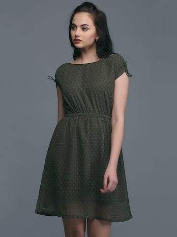 Eavan Women Olive Green Printed Fit and Flare Dress Eavan Dresses at myntra